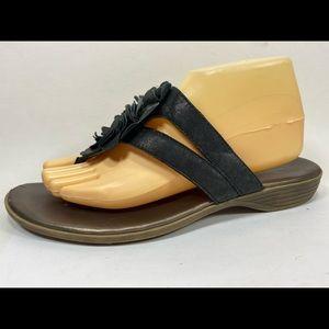 Clarks Bendables Black Flip Flops Sz 10M Leather